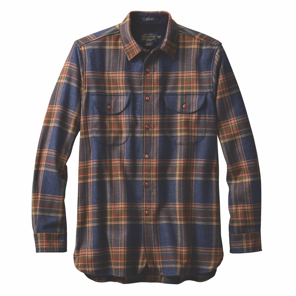 Buckley Fitted Plaid Navy Twill Shirt