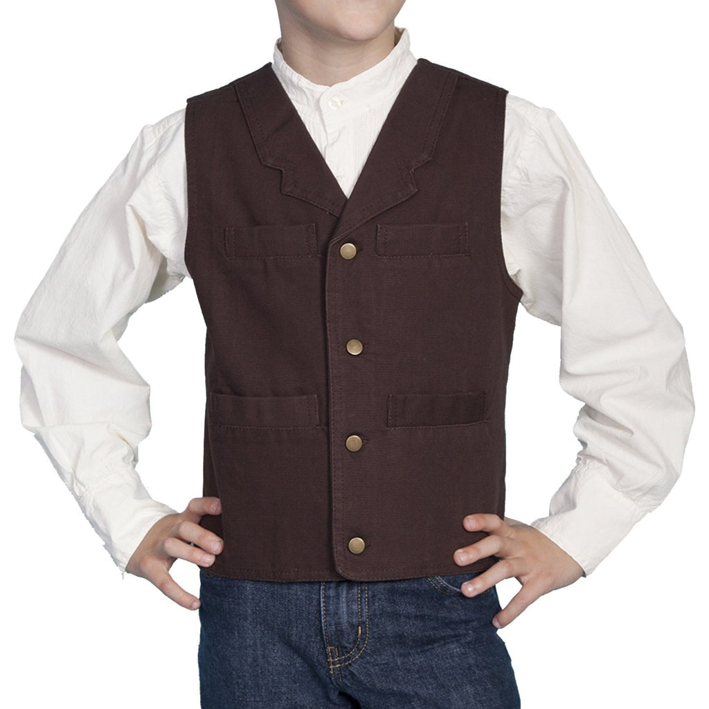 Dress your lil cowboy in a western vest made by Scully! The vest is made with a rugged cotton canvas material and is styled with buttons along its front.