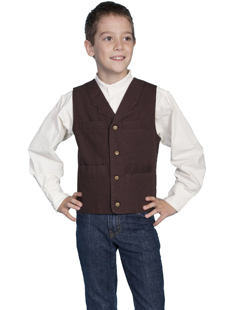 Kids Canvas Vest, Walnut