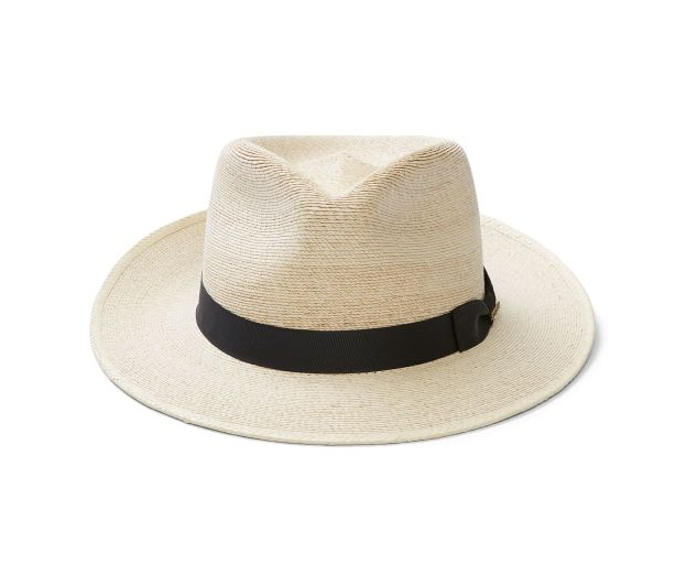 The Stetson Rushmore Fedora is constructed of palm leaf straw with a classic teardrop crown, internal sweatband with a grosgrain hat band.