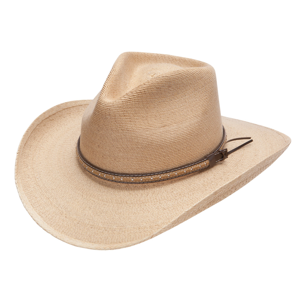 The Sawmill cowboy/cowgirl hat by Stetson is made with palm leaf and is a rodeo classic! Find yours at Head West in Bozeman, Montana.