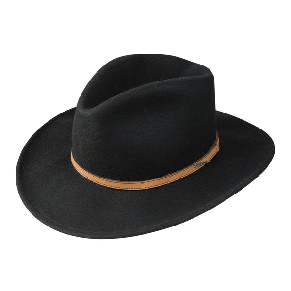 Spencer Hat, Black Style Leather Hat Band, Stetson Crushable Collection, Cowboy Cowgirl Hat