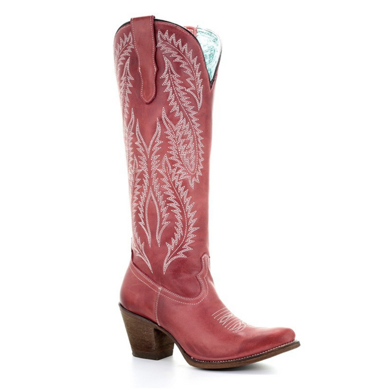 Red Tall Cowboy Cowgirl Boots Embroidery Head West Western Boutique