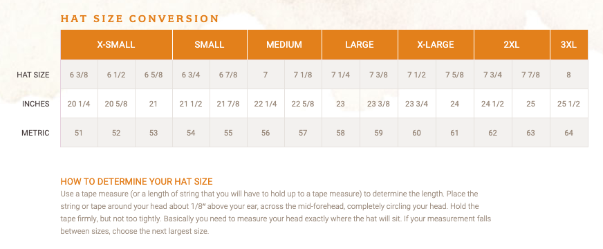 This is a Stetson hat size chart. Shop our western hats at Head West in downtown Bozeman, Montana!