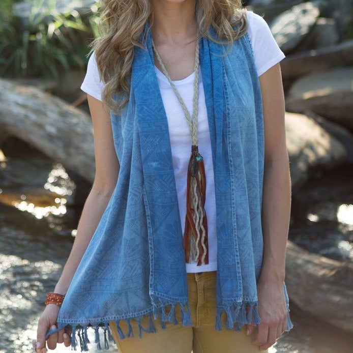 This Ryan Michael vintage indigo fringe shawl is a summertime classic! T1892VG