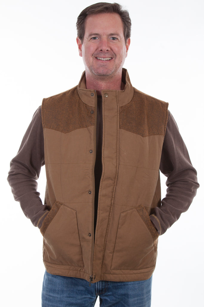 A men's canvas vest made by Scully.