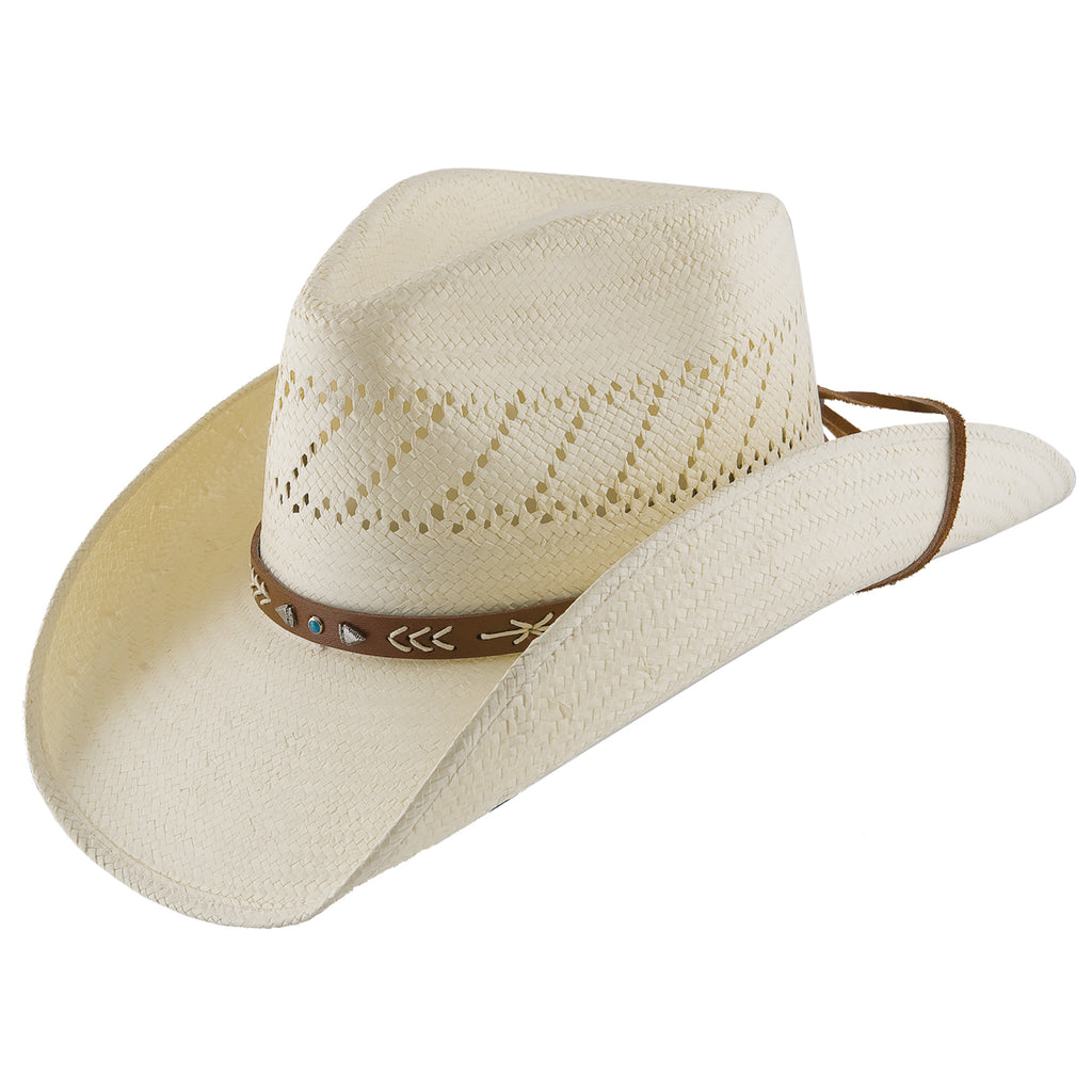 The Santa Fe western cowboy/cowgirl hat by Steston features a shapeable wire brim, leather hat band, chinc cord, and is lightweight.