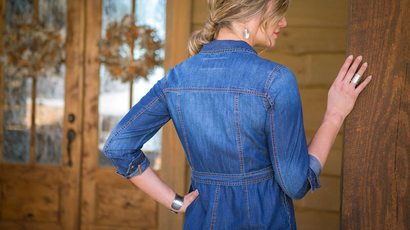 Ryan Michael Womens Jean Jacket Dress Western Head West Bozeman Montana Downtown Fashion Apparel Spring Summer Arrivals Cowgirl Rodeo Montana