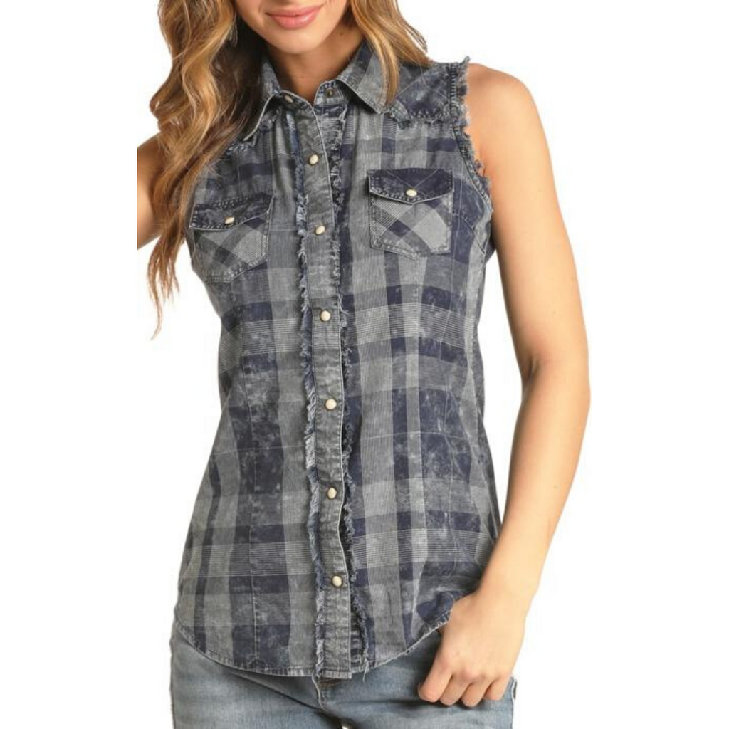 Sleeveless Plaid Denim Top