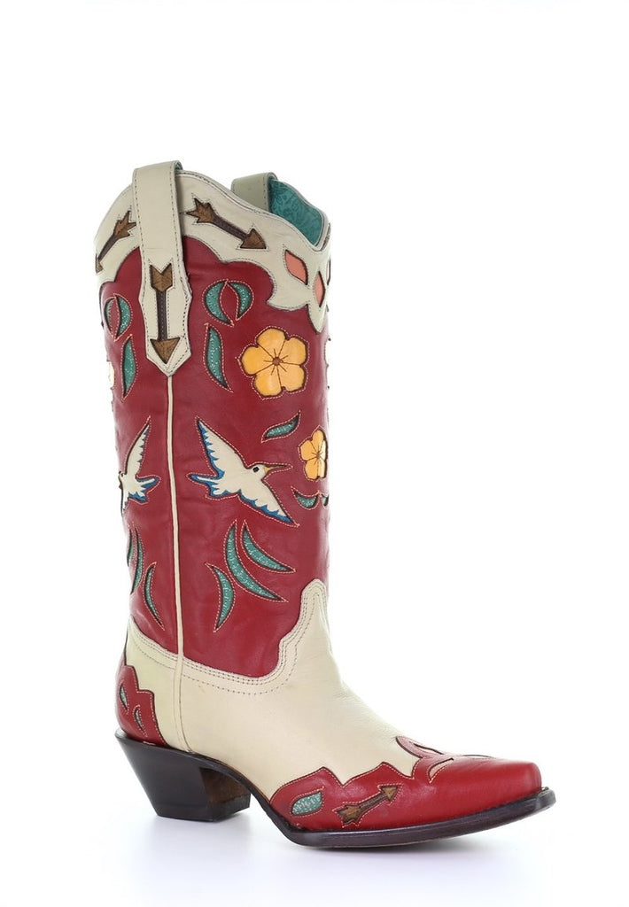 This new Corral style features cut outs, inlays, and embroidery.  These boots are beautiful for summertime with birds and flowers.