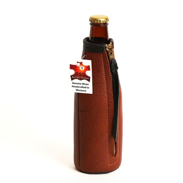 Koozie Montana Made Red Sky Designs Bozeman Montana Bison Leather Cowhide Gifts