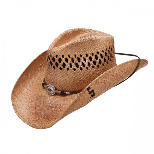 The Stoney Creek straw hat is a western cowgirl hat made by Stetson. Made with raffia straw, a leather hatband, silver conchos, and a pinchfront crown.