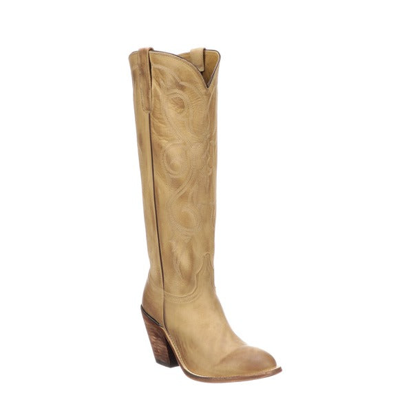 Vanessa is a tall Western boot. This stylish pull-on cowgirl features a fashion- forward toe and heel, 17-inch shaft accented with spiraled stitch patterns and burnished toe. Single-welt construction. Leather sole. Handmade in Mexico.