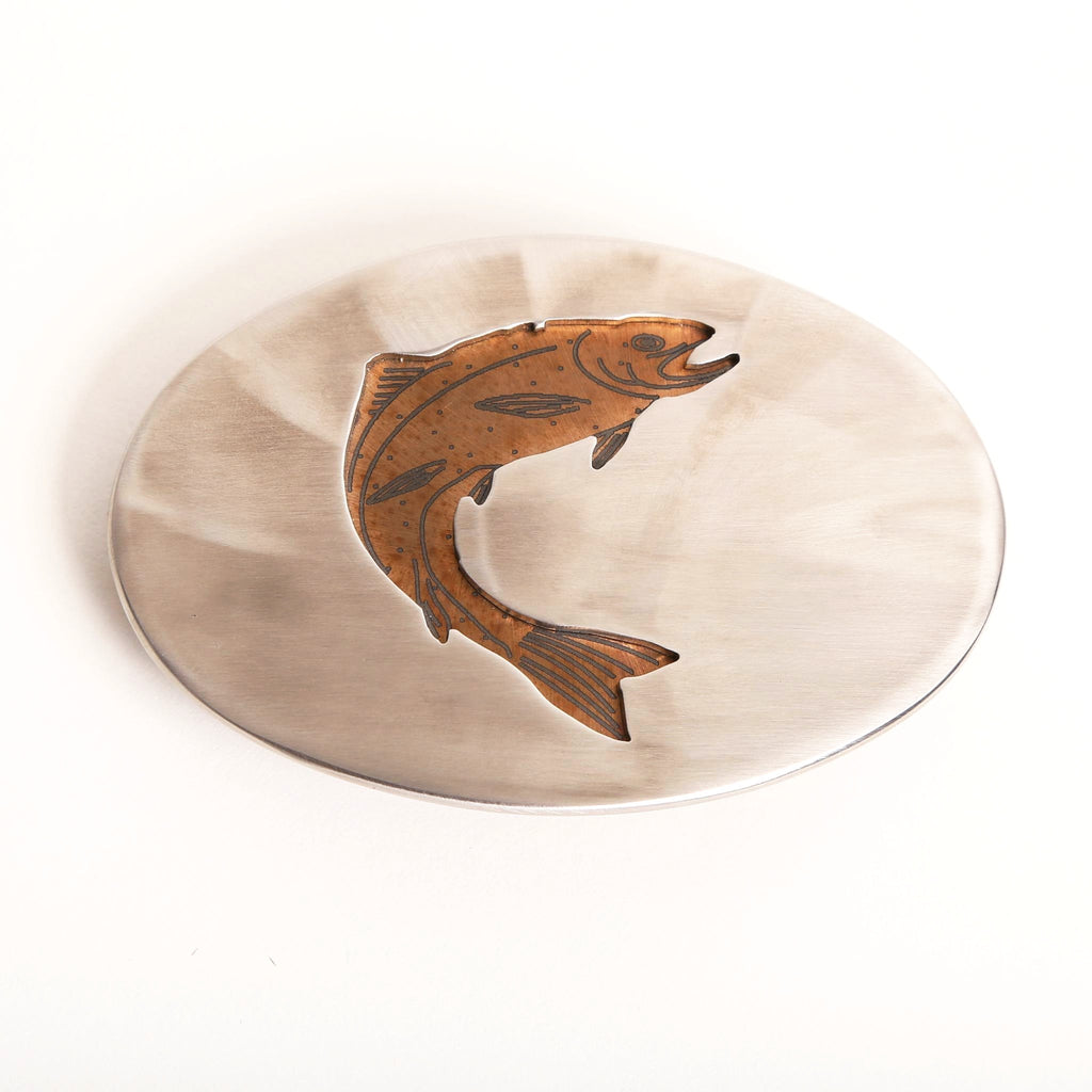 Polished Steel Trout Belt Buckle - headwestbozeman