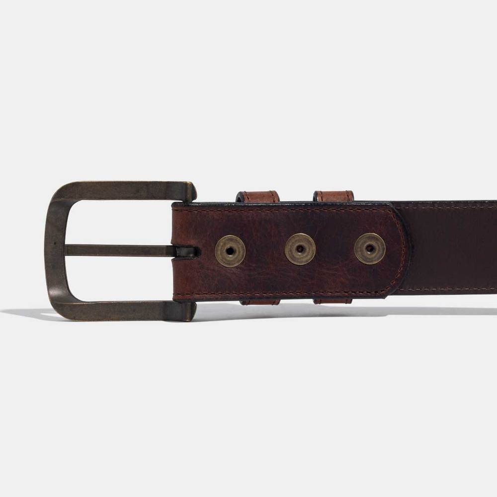 Calhoun Bison Leather Belt: Saddle - headwestbozeman