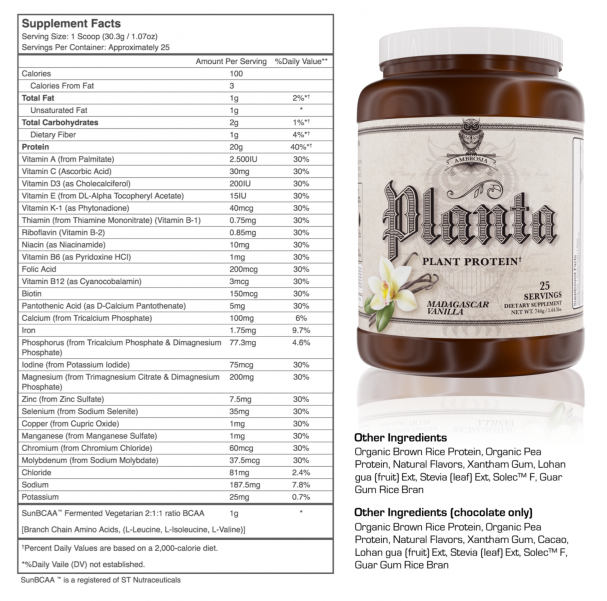Ambrosia Planta Supplement Facts