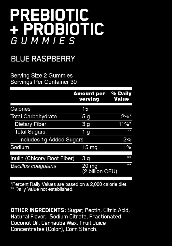 ON Pre Pro Gummies Supplement Facts
