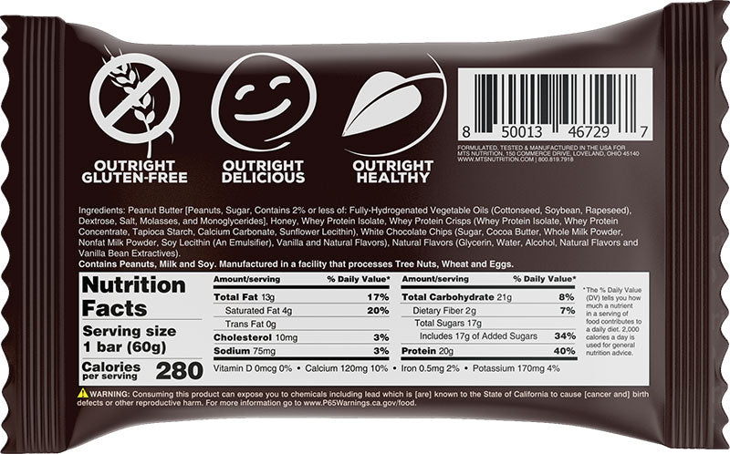 Outright White Chocolate Chip Crisp PB Nutrition