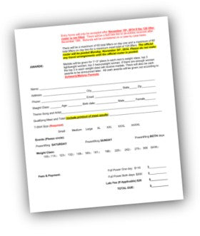 Powerlifting Entry Form