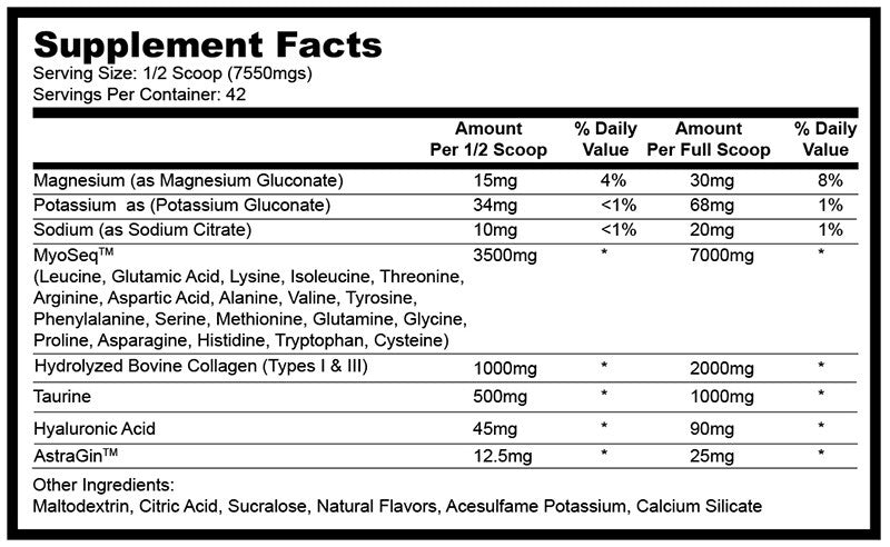 Glaxon Xeno Supplement Facts