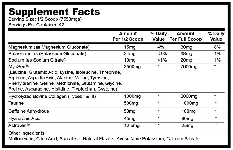 Glaxon Xeno Energy Supplement Facts