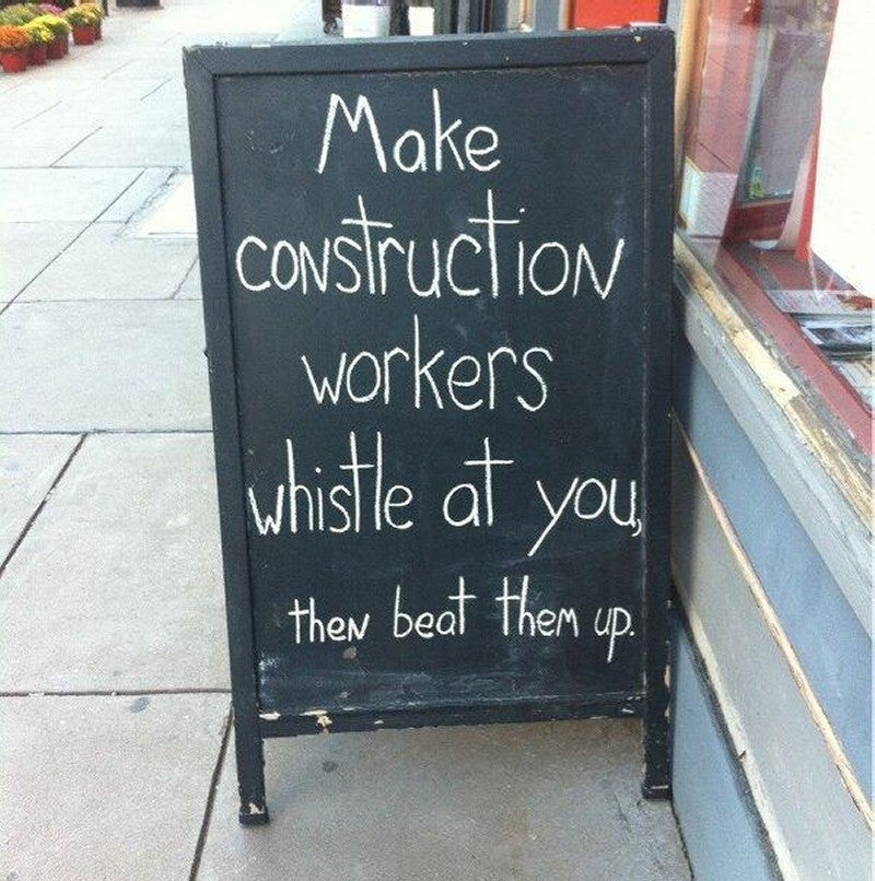 Make construction workings whistle at you