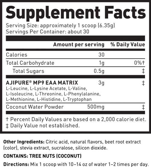 Kaged Muscle Amino Synergy Raspberry Lemonade Supplement Facts
