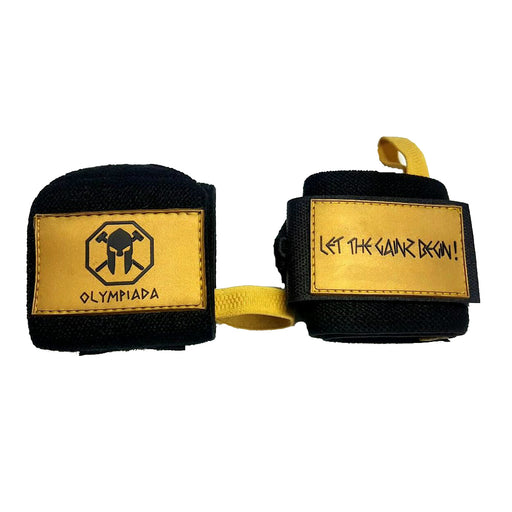 "Olympiada Gear 20"" Deluxe Wrist Wraps Black and Gold"