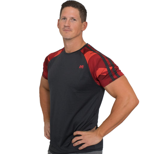 MTS Performance Raglan Crew | Black Heather & Red Camo - Large
