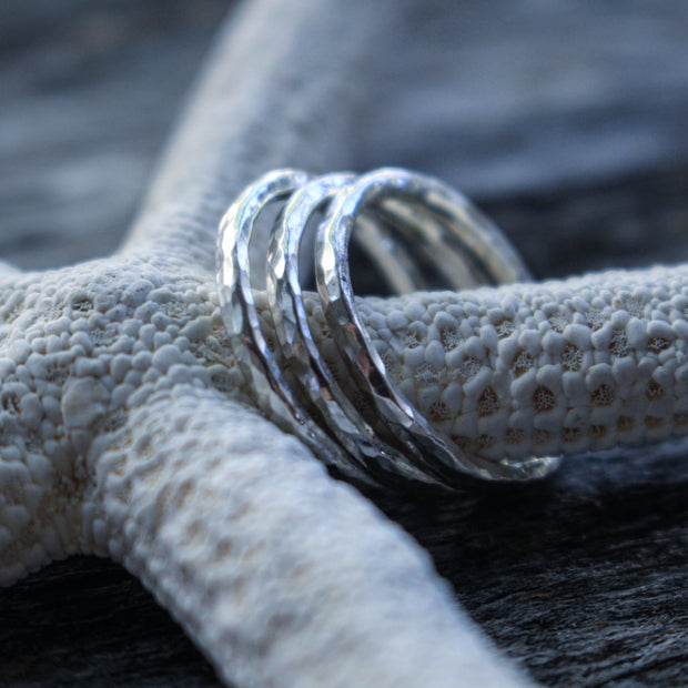 Sea Candy Ring: (3) Hammered Simple Sterling Silver