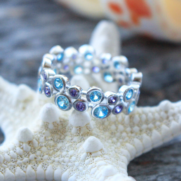 Sea Candy Ring: Aqua Gemstone Sterling Silver