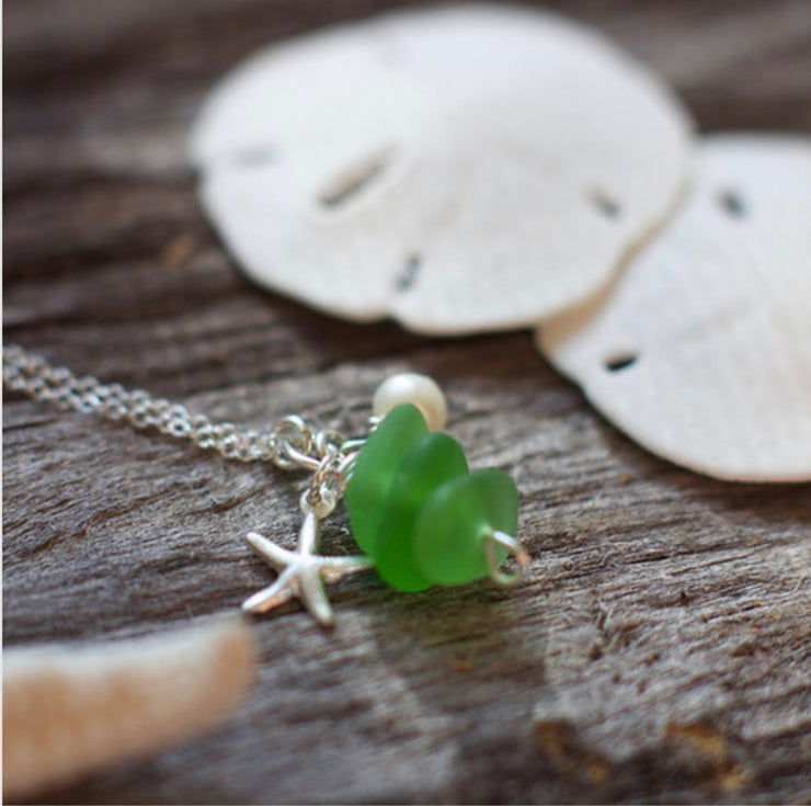 Sea Glass Necklace: Green Stack Sterling Silver