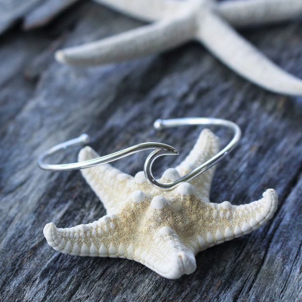 Sea Candy Cuff: Sterling Silver Simple Wave
