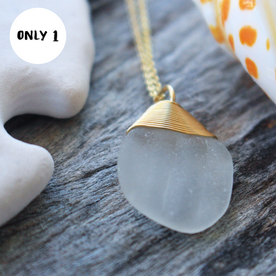 Sea Glass Necklace: White 14k Gold Fill #12