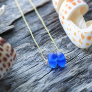 Rare Tumbled Sea Glass Necklace: Cobalt 14k Gold Fill #230
