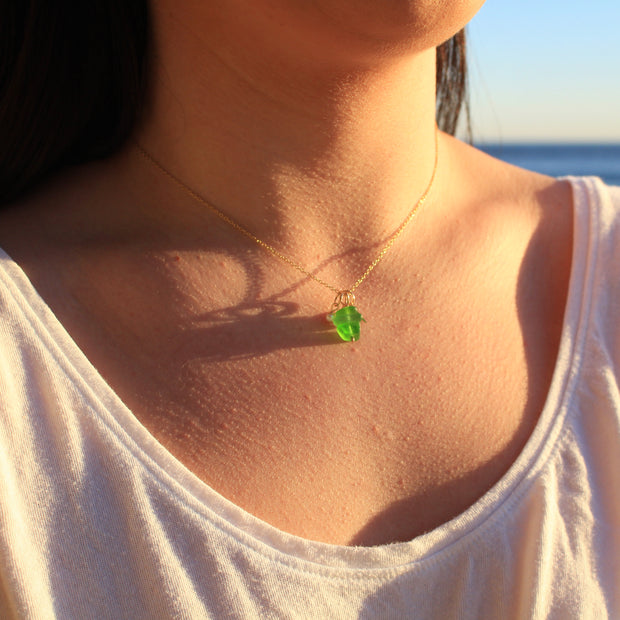 Sea Glass Necklace: Green Stack Gold Filled