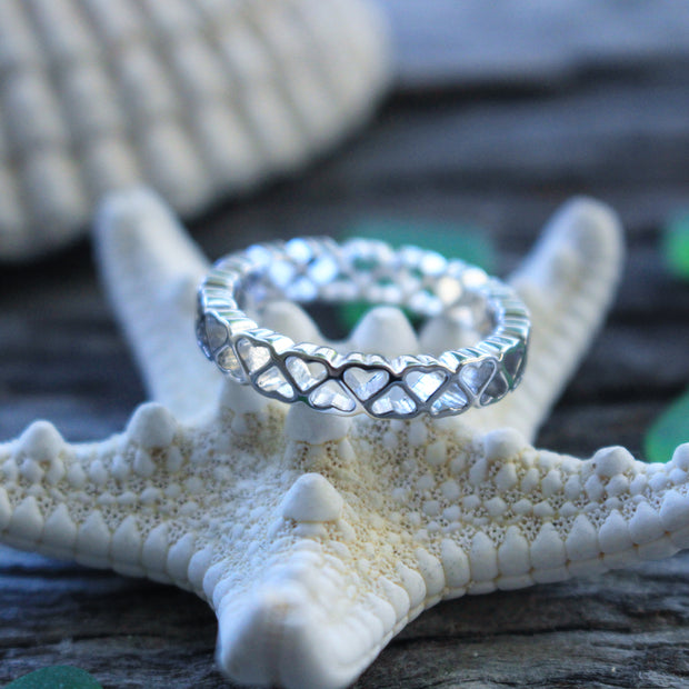 Sea Candy Ring: Eternity Hearts Sterling Silver