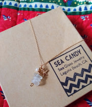 Sea Glass Necklace: White Stack Gold Filled