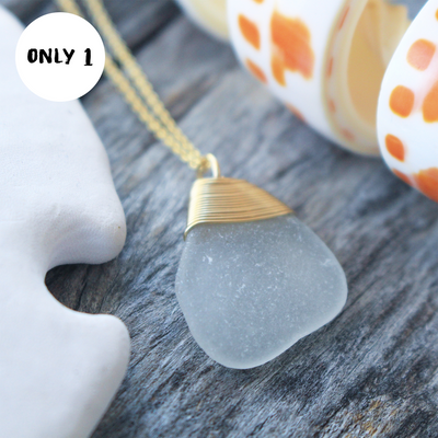 Sea Glass Necklace: White 14k Gold Fill #20