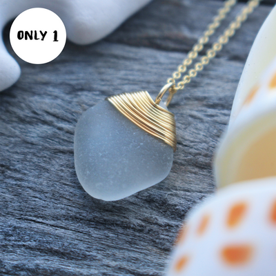 Sea Glass Necklace: White 14k Gold Fill #22