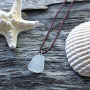 Sea Glass Necklace: Simple Satellite Maroon Rope