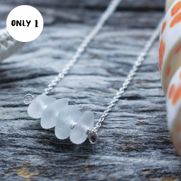 Sea Glass Necklace: White Bar Sterling Silver #31
