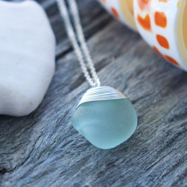 Sea Glass Necklace: Seafoam Sterling Silver