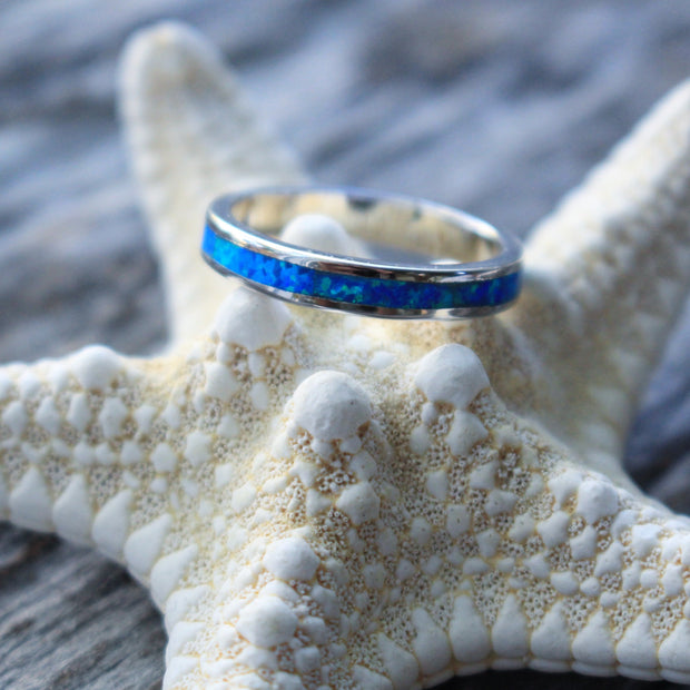 Sea Candy Ring: Ocean Opal Band Sterling Silver