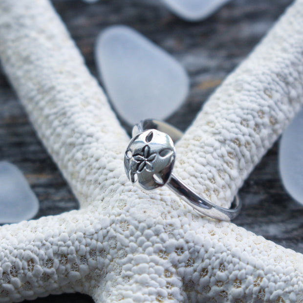 Sea Candy Ring: Dainty Beach Sand Dollar Sterling Silver