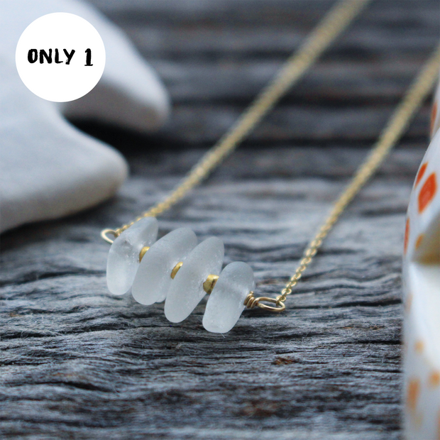 Sea Glass Necklace: White Bar 14k Gold Fill #37