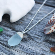 Sea Glass Necklace: Seafoam Sterling Silver #47