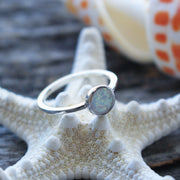 Sea Candy Ring: White Opal Circle Sterling Silver