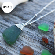 Sea Glass Necklace: Teal Sterling Silver #43