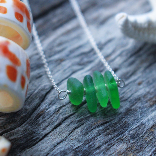 Sea Glass Necklace: Green Bar Sterling Silver #26